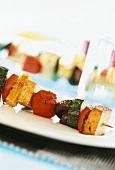 Vegetable kebab with tofu cubes