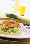 Salmon fillet with horseradish crust on leeks