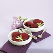 Redcurrant sorbet in dessert bowls