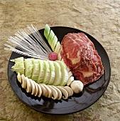 Various Japanese ingredients for fondue