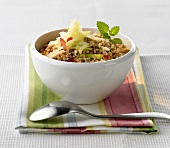 Apple muesli in a small bowl
