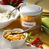 Sambal Manis in jar and small bowl