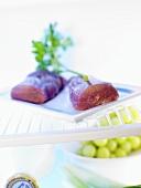 Sirloin on a plate in fridge
