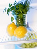 Two lemons in front of a glass of herbs in fridge