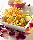 Thai noodle soup with curried chicken
