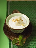 Banana and coconut pudding with sago (Vietnam)