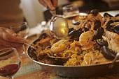 A pan of paella