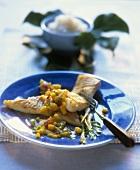 Fried cod with mango salsa