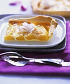 Piece of mango tart with puff pastry