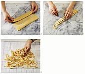 Making tagliatelle by hand