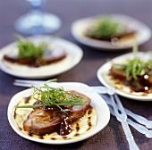 Duck breast on wheat tortilla