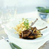 Grilled wild boar chops with cinnamon apple & straw potato
