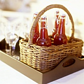Cranberry juice in swing top bottles