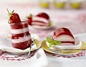 Striped strawberry terrine