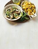 Porcini alla verbena e patate con le olive (Two side dishes)