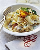 Pappardelle with rabbit ragout in apricot sauce