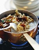 Spaetzle noodles with mushrooms
