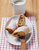Pear and apple strudel with raisins and almonds