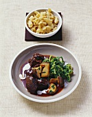 Braised venison with creamed savoy cabbage & ceps