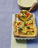 Mushroom, leek & cherry tomato quiche with potato pastry