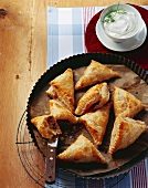 Piroshki (Puff pastry pasties with mince & cabbage filling)