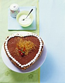 Heart-shaped Florentine cake decorated with cocoa & caramel