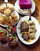 Sicilian vegetables, polenta muffins, beef & pork fillets with pesto