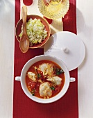 Mediterranean fish stew with rice and celery