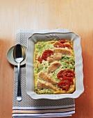 Salmon and tomato gratin