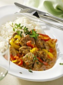 Lamb and pepper ragout on rice