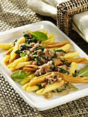 Pasta with mince and spinach sauce