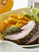 Roast turkey with herbs, pumpkin seed pesto & herb mashed potato