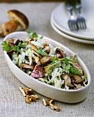 Green pasta with king stropharia mushrooms, walnuts, Parmesan