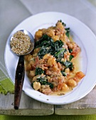 Chick-peas and spinach with sesame seeds