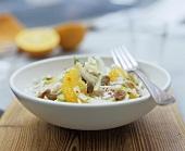 Orange & fennel salad with raisins, ginger & cinnamon dressing