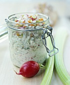 Quark and vegetable spread in preserving jar