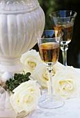 Dessert wine with roses