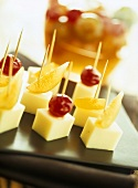 Cheese and fruit on cocktail sticks