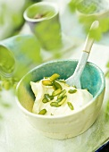 Kiwi fruit ice cream with pistachios