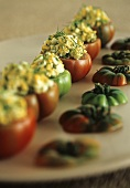 Tomatoes stuffed with bread and egg stuffing and herbs