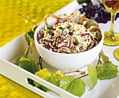 Winter salad of radicchio, white cabbage, celery & onions