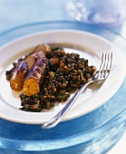 Toulouse sausage with lentils (French speciality)