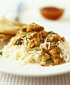 Chicken korma (chicken in almond curry sauce) with rice