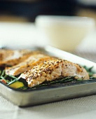 Oven-baked salmon fillets with coarse mustard & green beans