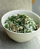 Rice salad with mushrooms,  bacon and parsley