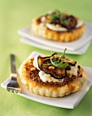 Small aubergine and mozzarella tarts