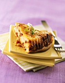 A piece of Tartiflette Tatin (Potato, cheese & bacon tart)