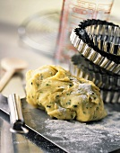 Herb pastry and various baking utensils