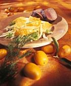 Orange and fennel salad with lamb fillet