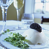 Scallop timbale with black caviar